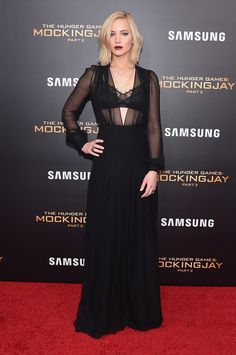 Jennifer Lawrence got majorly vampy in a black sheer-bodice gown by Schiaparelli Couture at the 'Hunger Games: Mockingjay - Part 2' New York premiere.