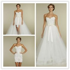Lace and Tulle Strapless Sweetheart Ball Gown 2 in 1 Wedding Dress double duty somthin i can where again:)!!!!!!!!