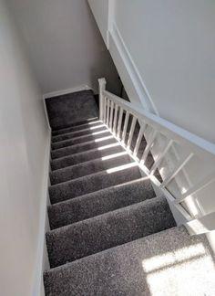 Dark grey carpet install on st. Dark grey carpet install on stairs and landing. Dark Grey Carpet Bedroom, Grey Stair Carpet, Carpet Staircase, Hallway Carpet, Dark Carpet, Bedroom Carpet, Living Room Carpet, Living Room Grey, Beige Carpet