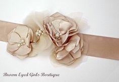 Champagne Wedding Sash Bridal Sash Wedding by browneyedgirlsboutiq, $60.00