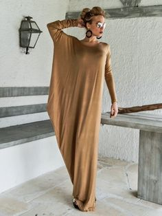 Camel Taupe Dress Kaftan with Nude See-Through Detail /