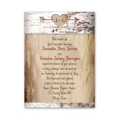 Invitations starting at 99¢! Shop Ann's Bridal Bargains for affordable wedding invitations with stylish designs like this Aged Birch Petite Invitation.