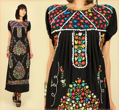 ViNtAgE 70's Black Floral Embroidered Handmade Maxi Mexican Wedding Dress M. $128.00, via Etsy.