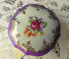 Pretty Vintage Dresden Pink Floral Gold Gilded Trinket Box, Antique, Victorian, Jewellery, Collectable, Nick Nack, Germany