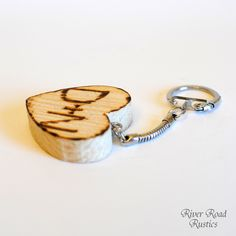 Rustic Wedding Favor- Personalized Wood Heart Key Chain For your Country, Rustic Chic Wedding. $4.50, via Etsy.