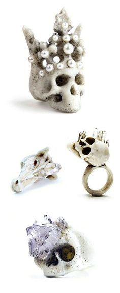 These rings could be relics from the Gothic era — were it not for the fact that they're made of plastic. Ukraine's Macabre Gadgets fuses polymers and crystals and, in so doing, fuses the modern and the medieval.