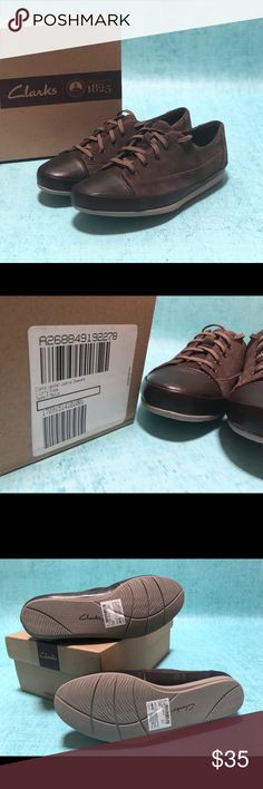 Clarks Lorry Grace Leather Lace-up Shoes Size 5M (5 medium). Brand new, never used. These shoes are cute for any occasion! Very comfortable.  Lace-up design, suede upper, leather trimmed sole, capped toe. Padded insole, textured outsole for traction. Clarks Shoes Sneakers