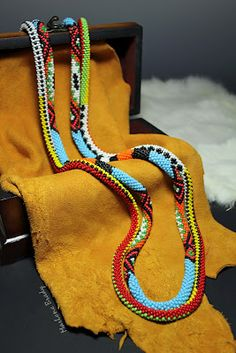 Marlene Brady's Tribal Stripe and Native American bead crochet ropes.