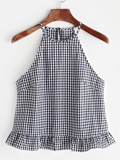 Gingham Buttoned Keyhole Back Frill Halter Top Shop Gingham Buttoned Keyhole Back Frill Halter Top online. SheIn offers Gingham Buttoned Keyhole Back Frill Halter Top & more to fit your fashionable needs. Halter Tops, Mode Top, Diy Clothes, Blouse Designs, Blouses For Women, Gingham, Ideias Fashion, Cute Outfits, Skirt Outfits