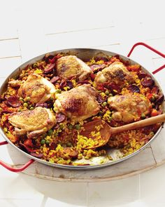 Chicken and Chorizo Paella - Martha Stewart Recipes. My favorite paella! Chicken And Chorizo Paella Recipe, Chicken Paella, Chicken Recipes, Baked Chicken, Mexican Food Recipes, Dinner Recipes, Ethnic Recipes, Rice Dishes, Main Dishes