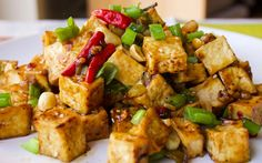 <p>This is a stand-out version of the Classic Chinese dish Kung Pao tofu. The sauce is sweet, tangy, and spicy while the tofu is crisp on the outside and tender in the middle.</p>