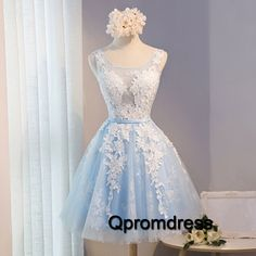 Prom dresses for teen, homecoming dress, light blue tulle + appliques short evening dress for prom 2017