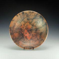 Horse Hair Raku Pottery Bowl. Terra Sigillata, hand polished. Ready to ship.