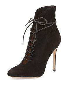 Suede Lace-Up Bootie by Gianvito Rossi at Bergdorf Goodman. On sale now $510. These are sexy as hell.