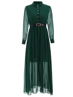Stand Collar Long Sleeve Belted Dress - BLACKISH GREEN M