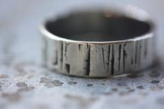 RING Birch Bark - Hammered Silver Ring - Simple Band. $58.00, via Etsy.