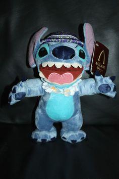 "NEW Rare Disney Aulani Stitch 9"" Plush w/ Lei & Hat HAWAII EXCLUSIVE"