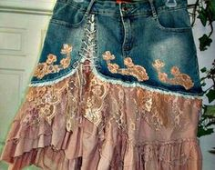 Mauve Rose jean skirt ruffled chiffon dusty rose lace French lace pink ruffles upcycled bohemian Renaissance Denim Couture - Jean Skirts - Ideas of Jean Skirts Staubige Rose, Rose Lace, Dusty Rose, Umgestaltete Shirts, Jeans Refashion, Rose Jeans, Denim Ideas, Denim Crafts, Denim And Lace