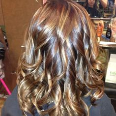 Rich mocha brown with golden blonde, caramel and auburn highlights. Hair done by Jennifer Beard. - Yelp