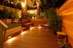 Warm, LED step lights create the perfect atmosphere for outdoor entertaining