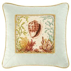C and F Enterprises Natural Shells 16 x 16 in. Conch Shell Needlepoint Cord Edge…