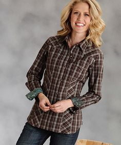 Take a look at this Brown Plaid Button-Up - Women by Roper on #zulily today!