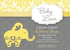 Elephant Theme Baby Shower Invitation Grey and Yellow. $18.00, via Etsy.