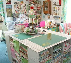 Perfect Fabric Cutting Table with Fabric Storage!