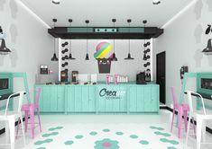 Creame ice cream shop on behance ice creame place in 2019 ка Kiosk Design, Bakery Design, Restaurant Design, Store Design, Retail Design, Cafe Interior Design, Cafe Design, Cupcake Shop Interior, Bar Laitier