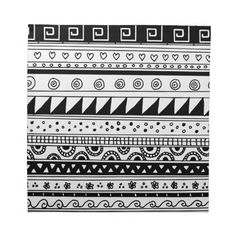 Black and white Tribal pattern Cloth Napkin