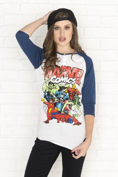 New Arrivals - Clothing, Shoes & Accessories for Women : Blue & white Marvel comics baseball tee Marvel Fashion, Geek Fashion, Geeky Chic, Mode Geek, Marvel Clothes, Marvel Comics, Marvel Dc, Cool Outfits, Fangirl