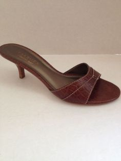 Talbots Shoes Womens Size 7.5 M Heels Brown Open Toe Slides 7 1/2 B