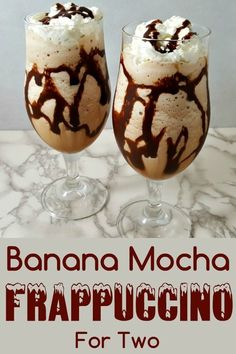 This Banana Mocha Frappuccino is full of delicious chocolate coffee and banana flavor The ingredients are blended together with ice to make a refreshing coffee drink for. Mocha Frappe Recipe, Mocha Frappuccino, Frappuccino Recipe, Keurig Recipes, Coffee Drink Recipes, Dessert Recipes, Desserts, Delicious Chocolate, Chocolate Drizzle
