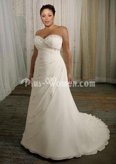 Beaded Chiffon Strapless Sweetheart Plus Size Wedding Dress