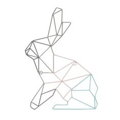 Outline Rabbit Wall Art - Me and My Trend Geometric Designs, Geometric Shapes, Geometric Tattoos, Stylo 3d, Bunny Tattoos, Design Graphique, Diy Art, Decorative Accessories, Wall Art