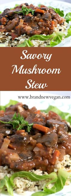 This Savory Mushroom Stew is absolutely perfect for those cold, rainy evenings when you just want something warm and hearty. You know.... comfort foods.