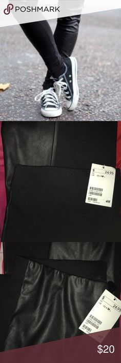 H&M Leggings Leather front/cotton material back NEVER WORN BEFORE! Still has tag! Imitation leather in front & the back is cotton material H&M Pants Leggings