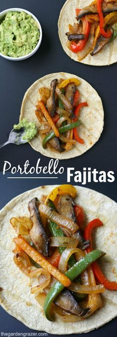 Quick and easy portobello fajitas! So simple to make, and great for weeknight meals