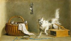 Jean-Jacques Bachelier, Mousetrap with Cat and Kittens in Basket, 18th c.