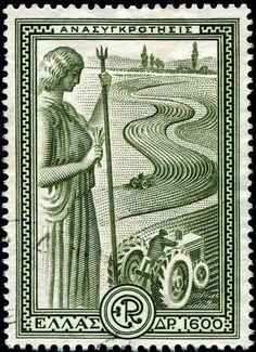 """Greece: September 20, 1951; an allegorical figure representing """"Agriculture,"""" and modern tractors plowing a field; issued by Greece as one of a set of six stamps publicizing Greece's economic recovery under the Marshall Plan; engraved and printed by Thomas De La Rue & Co., Ltd.  [Scott No. 542]"""