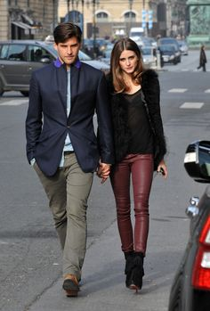 Olivia Palermo with burgundy leather pants
