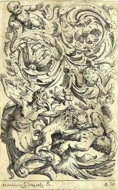 орнаментальный гротеск печать с участием Лев, листва и звери