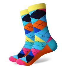 New style colorful ARGYLE SOCK men's combed cotton socks brand man dress knit socks Wedding Gifts Free shipping US size(7.5-12)