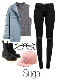 """When You First Meet // Suga"" by suga-infires ❤ liked on Polyvore featuring J Brand, H&M, Vans and Dr. Martens"