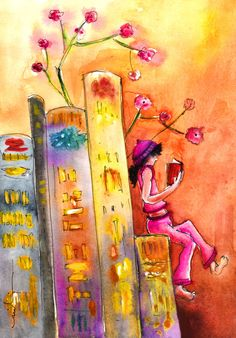 The Library of Dreams (Painting) by Miki de Goodaboom Painting of a little girl in pink reading a book on top of a row of giant books looking like a town. his was inspired by a motif I saw in Las Palmas de Gran Canaria, and was painted thinking of my dear friend the Brazilian writer Tamara Ramos.