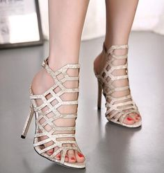 L Hot Womens Roma Hollow Out Clubwear Open Toe High Top Stiletto Sandals Shoes