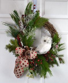 White Owl Christmas Wreath  Natural Wreath by GaslightFloralDesign