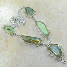 Green Druzy Agate Bohemian Stone Necklace