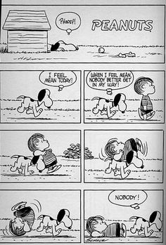 """I feel mean today!"", Snoopy and Linus. Snoopy Cartoon, Snoopy Comics, Peanuts Cartoon, Cute Comics, Peanuts Snoopy, Funny Comics, Peanuts Comics, Charles Shultz, Lucky Luke"