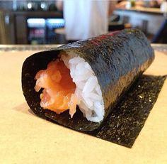 Salmon hand roll, best enjoyed immediately
